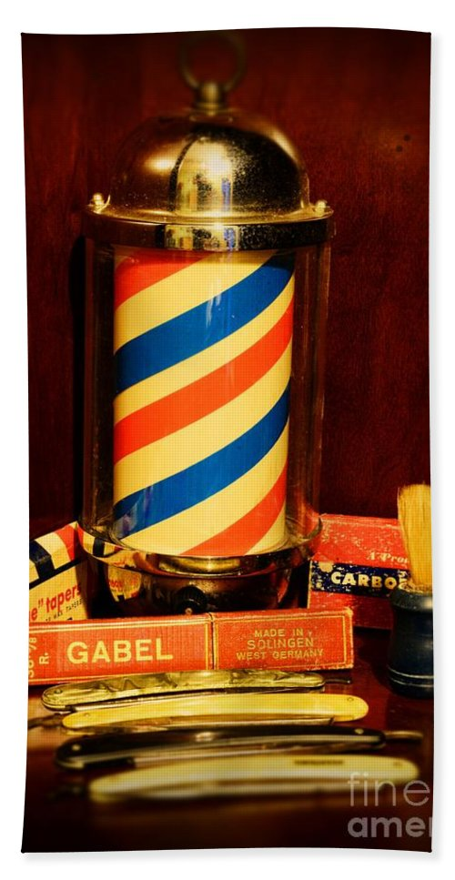 Barber - Vintage Barber Hand Towel featuring the photograph Barber - Barber Pole by Paul Ward
