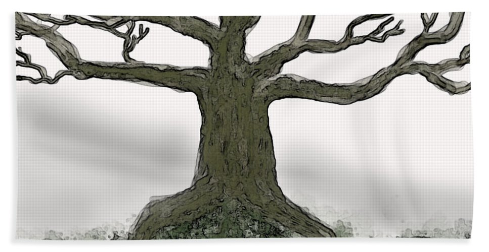 Bath Sheet featuring the digital art Bare Branches I by Debbie Portwood