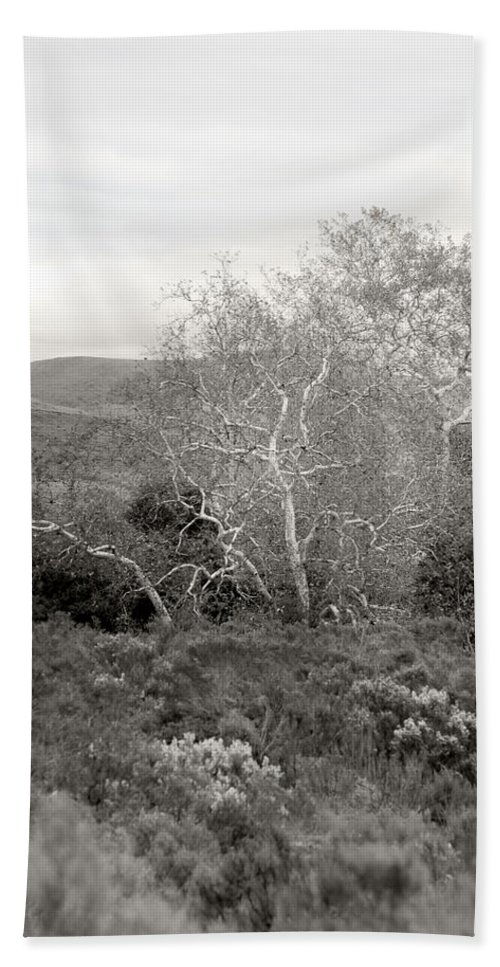Black And White Hand Towel featuring the photograph Bare Garden In The Hills by Kathleen Grace