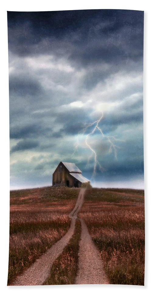 Barn Bath Sheet featuring the photograph Barn In Lightning Storm by Jill Battaglia