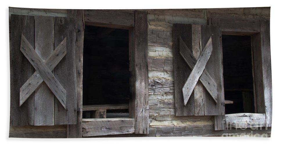 Barn Hand Towel featuring the photograph Barn Windows by Scott Hervieux