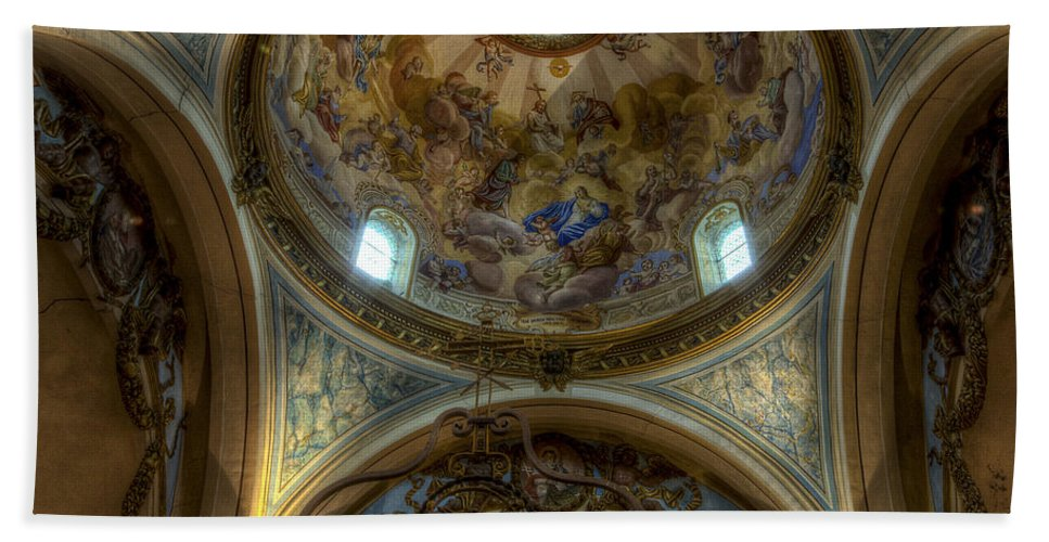 Clare Bambers Bath Sheet featuring the photograph Baroque Church In Savoire France 5 by Clare Bambers