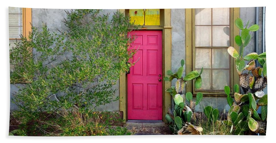 Bath Sheet featuring the photograph Barrio Door Pink And Gray by Mark Valentine