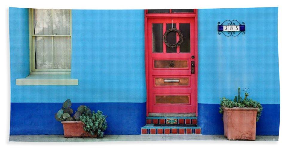 Barrio Bath Sheet featuring the photograph Barrio Door Pink by Mark Valentine