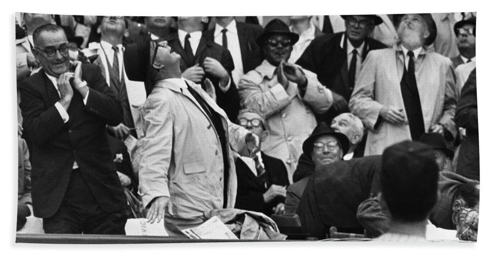 1962 Bath Sheet featuring the photograph Baseball Crowd, 1962 by Granger