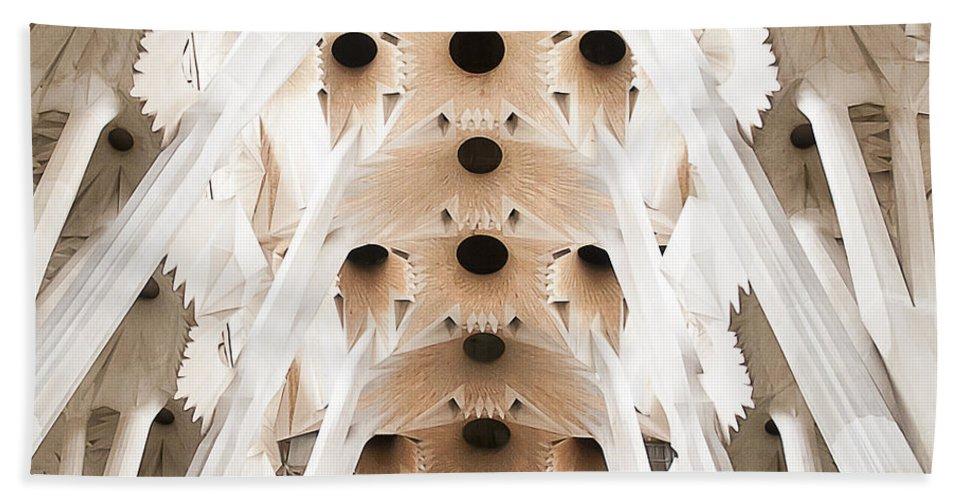 Sagrada Bath Sheet featuring the photograph Basilica De La Sagrada Familia In Barcelona by Beth Riser