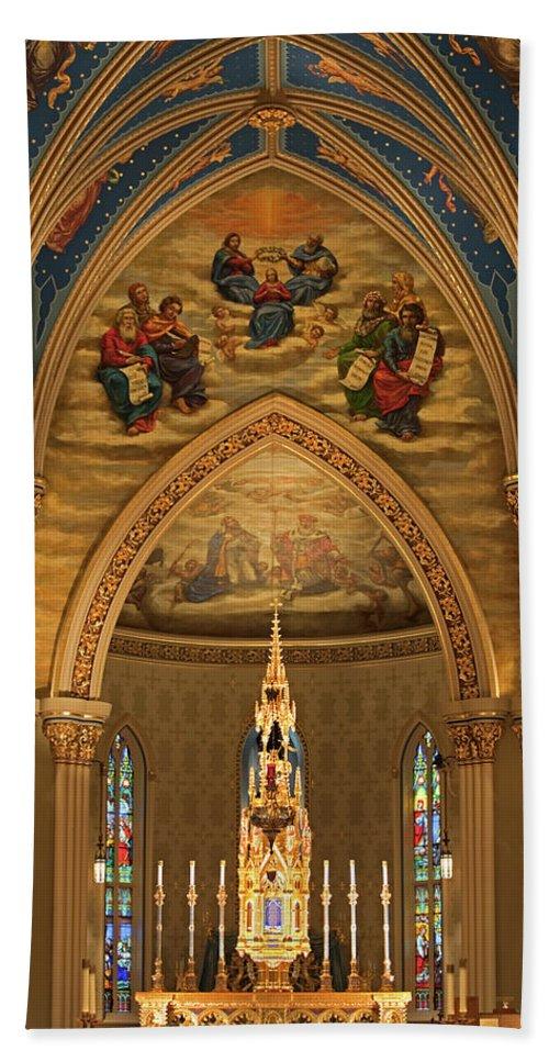 Basilica Bath Sheet featuring the photograph Basilica Of The Sacred Heart by John Stephens