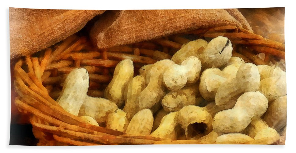 Peanut Hand Towel featuring the photograph Basket Of Peanuts by Susan Savad