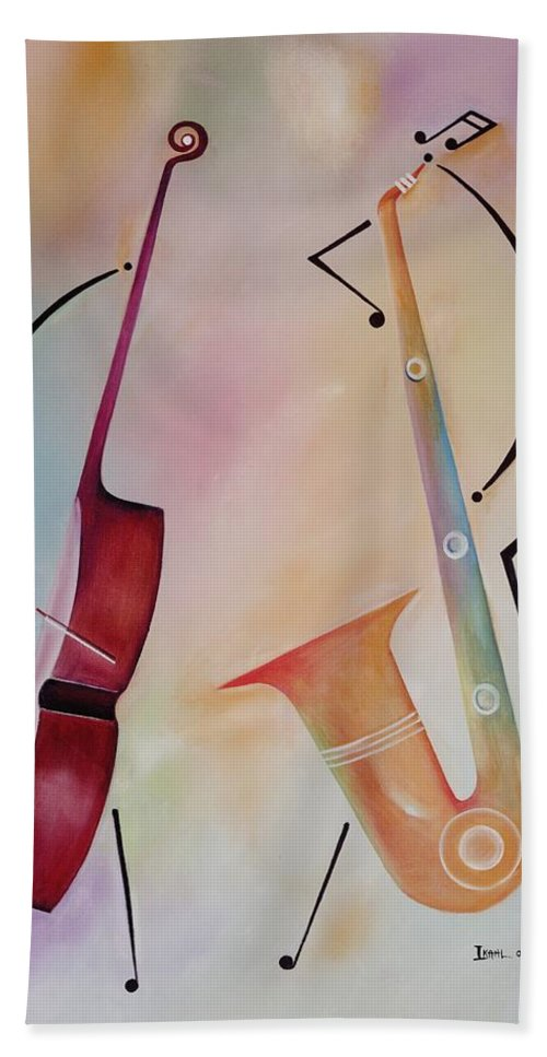 Duet Bath Sheet featuring the painting Bass And Sax by Ikahl Beckford