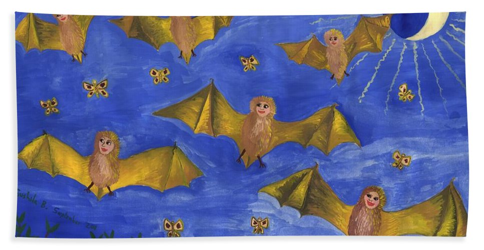 Bat Bath Sheet featuring the painting Bat People At The Pipistrelle Party by Sushila Burgess