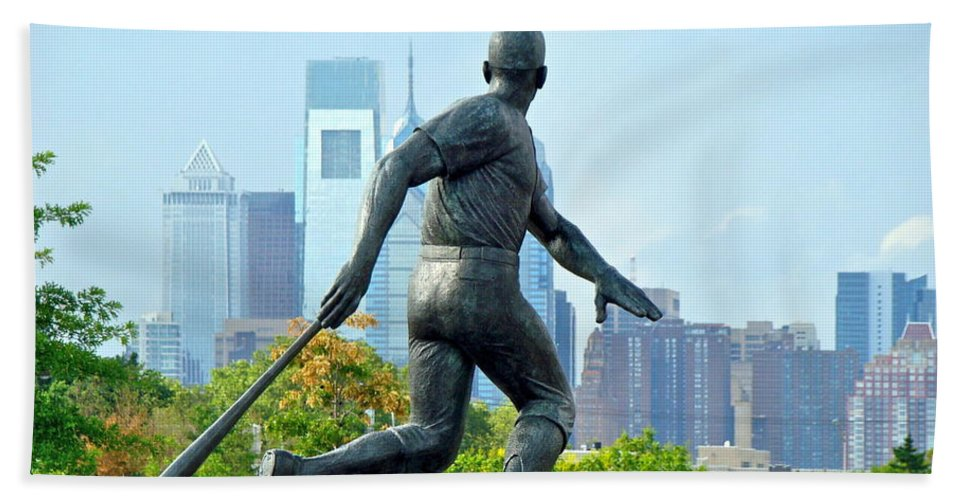 Baseball Statue Citizens Bank Park City View Philadelphia Bath Sheet featuring the photograph Batters City View by Alice Gipson