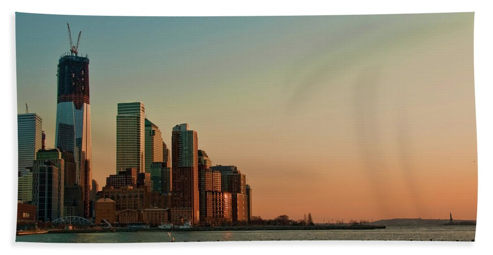 Battery Park City Bath Sheet featuring the photograph Battery Park City by S Paul Sahm