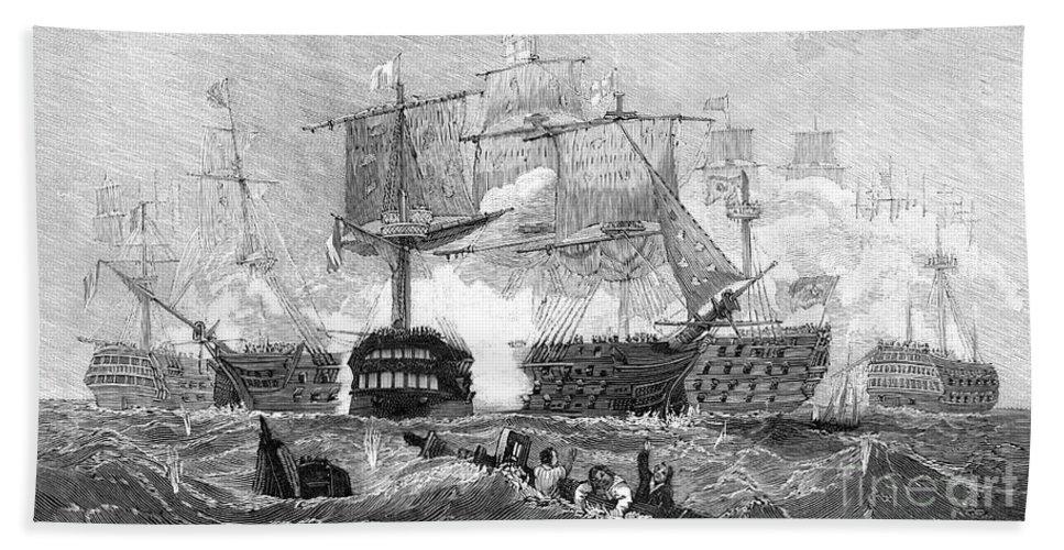 1805 Bath Sheet featuring the photograph Battle Of Trafalgar, 1805 by Granger