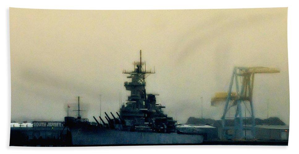 Battleship New Jersey Hand Towel featuring the photograph Battleship New Jersey by Bill Cannon