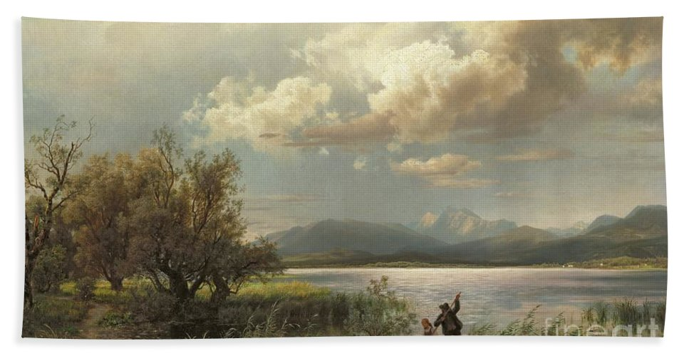 Bayern Landscape Hand Towel featuring the painting Bayern Landscape by Augustus Wilhelm Leu