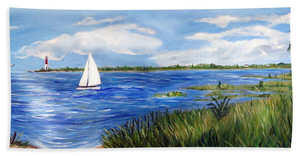 Marshland Bath Sheet featuring the painting Bayville Marsh by Clara Sue Beym