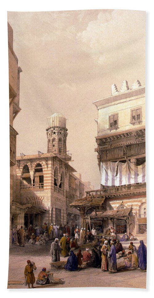 Cairo Hand Towel featuring the photograph Bazaar Of The Coppersmiths Cairo by Munir Alawi