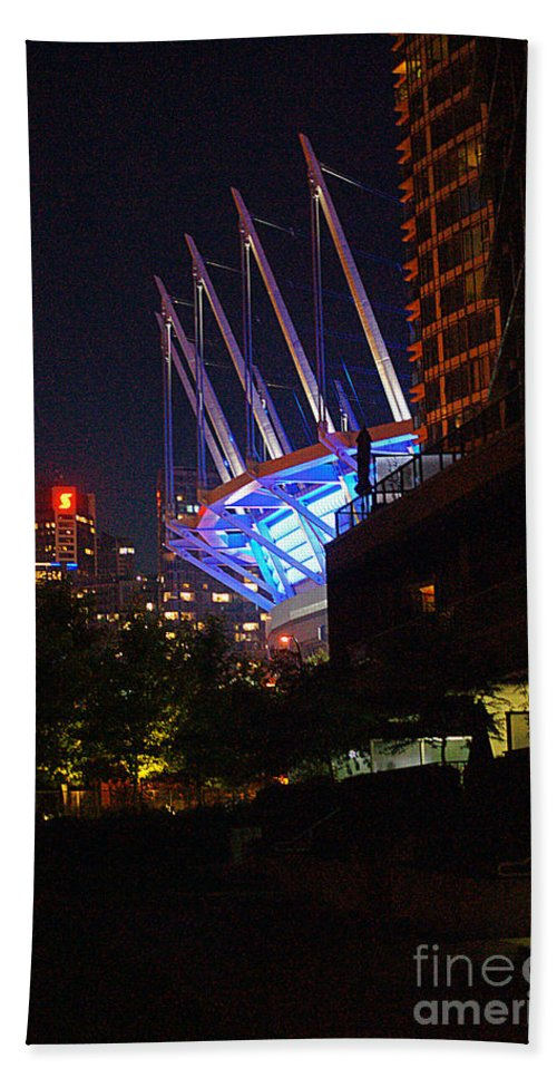 Vancouver Bath Sheet featuring the photograph B.c. Place At Night by Randy Harris