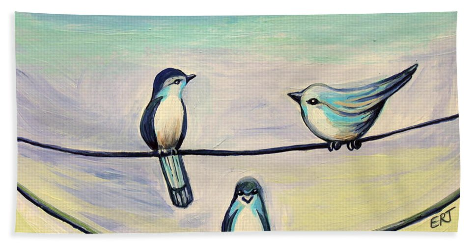 Beach Hand Towel featuring the painting Beach Birds by Elizabeth Robinette Tyndall