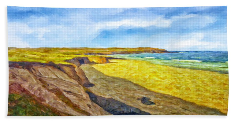 Beach Bath Sheet featuring the painting Beach Cliffs South Of San Onofre by Dominic Piperata