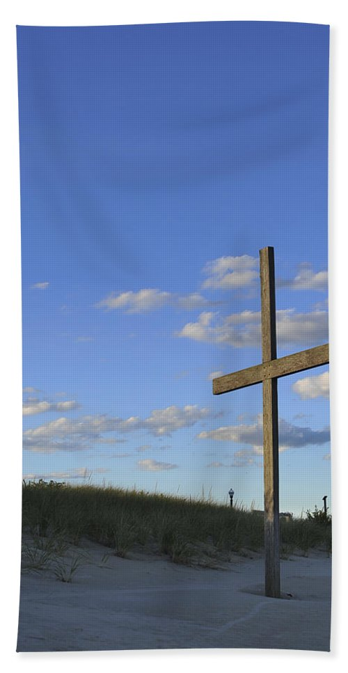 Ocean Grove Hand Towel featuring the photograph Beach Cross by Terry DeLuco