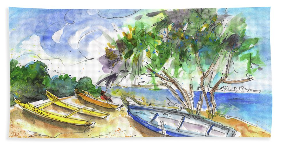 Travel Sketch Bath Sheet featuring the painting Beach In Ayia Napa by Miki De Goodaboom