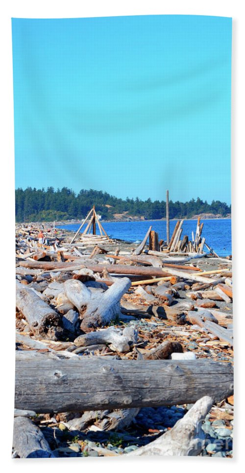 British Columbia Hand Towel featuring the photograph Beach Of Logs by Traci Cottingham