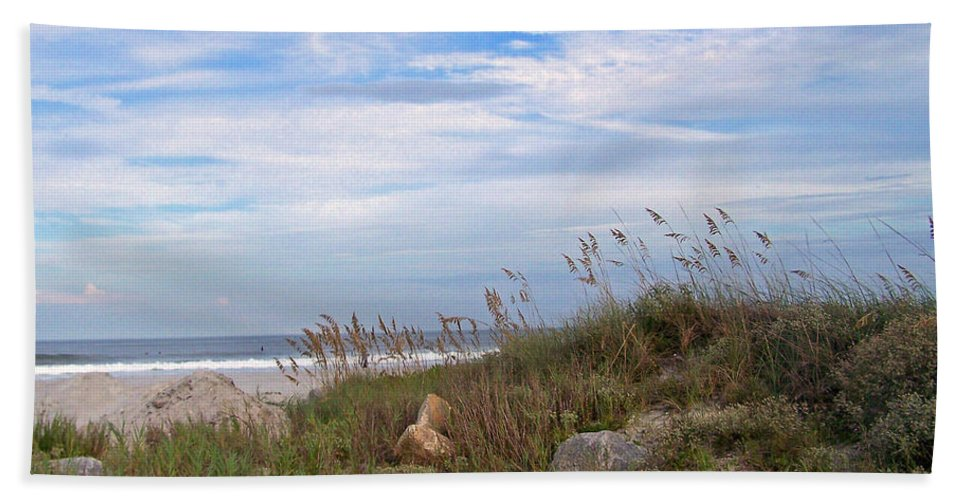 Sea Grass Hand Towel featuring the photograph Beach Rocks by Patricia Taylor