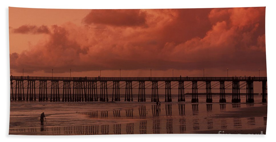 Sandra Bronstein Hand Towel featuring the photograph Beachcombing At Oceanside Pier by Sandra Bronstein