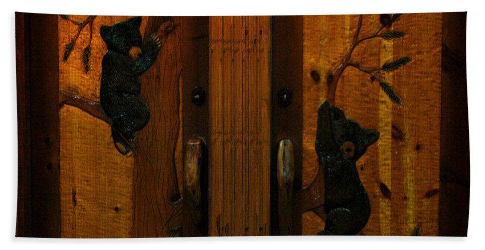 Usa Bath Sheet featuring the photograph Bear Doors Carved by LeeAnn McLaneGoetz McLaneGoetzStudioLLCcom