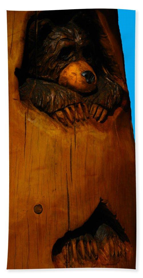 Usa Bath Sheet featuring the photograph Bear In Log by LeeAnn McLaneGoetz McLaneGoetzStudioLLCcom
