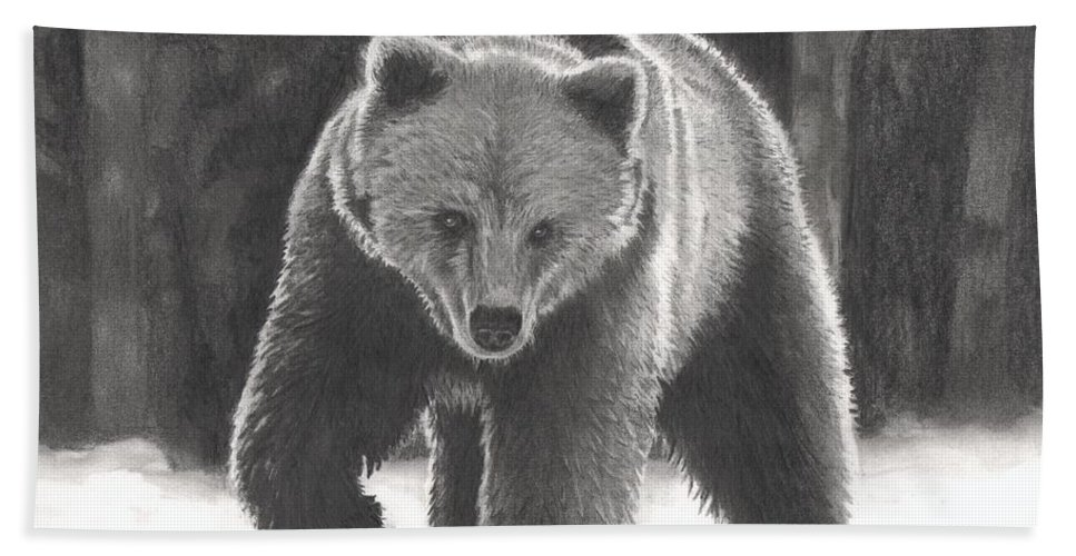 Bear Hand Towel featuring the drawing Bear Necessities by Christian Conner