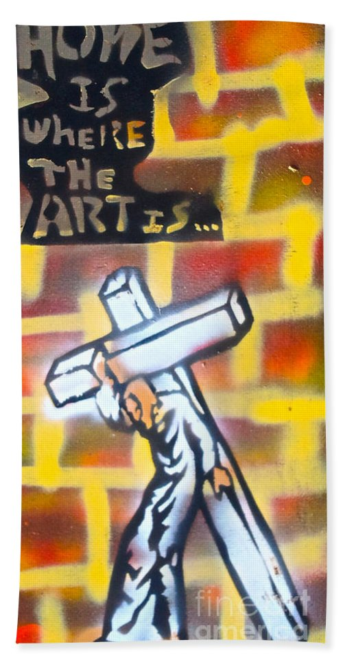 Graffiti Hand Towel featuring the painting Bearing The Cross by Tony B Conscious