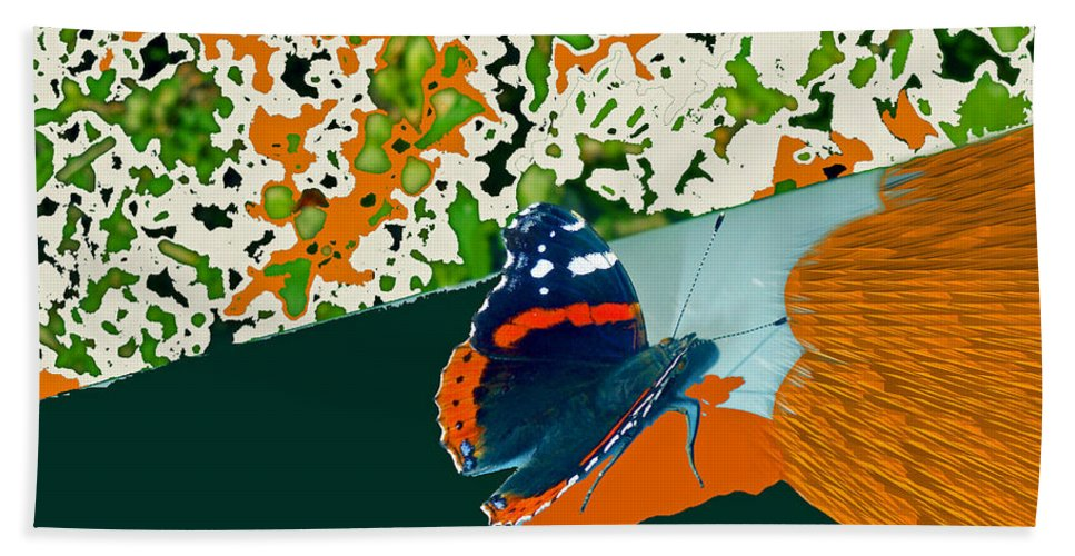 Beautiful Butterfly Hand Towel featuring the digital art Beautiful Butterfly On A Gold by Augusta Stylianou
