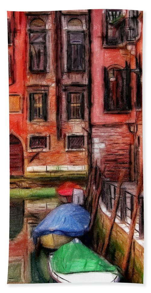 Venice Pastel Pastels Oil Lagoon City Water Reflection Red Painting Romantic Bath Sheet featuring the pastel Beautiful Venice by Steve K