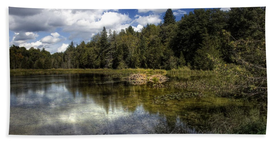 Xdop Hand Towel featuring the photograph Beaver Lodge by John Herzog
