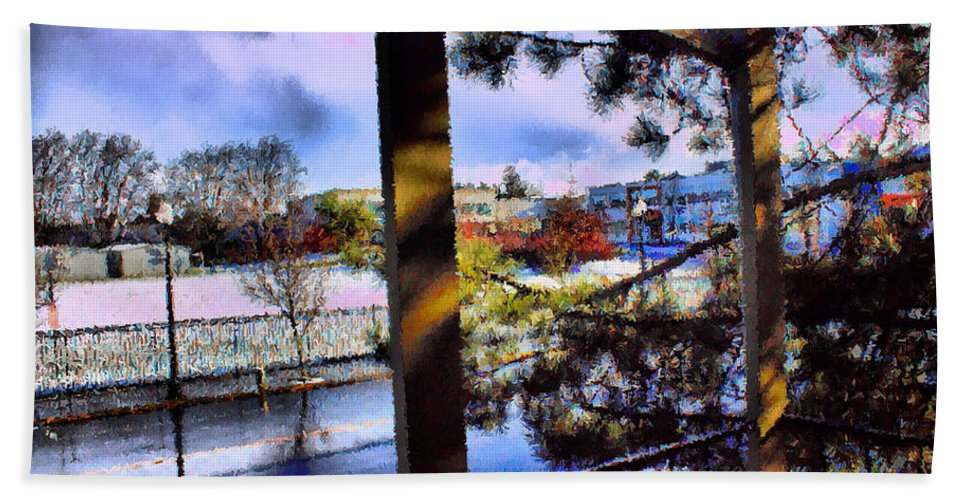 Urban Impressionism 2011 Bath Sheet featuring the mixed media Beaverton H.s. Winter 2011 by Terence Morrissey