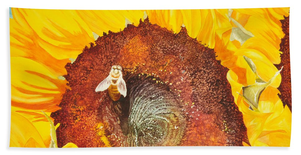 Sunflowers Bath Sheet featuring the painting Bee And Sunflowers by Terry Arroyo Mulrooney