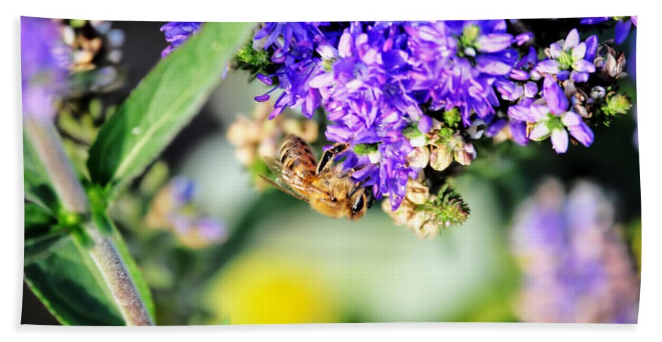 Bath Sheet featuring the photograph Bee Happy by Michael Frank Jr