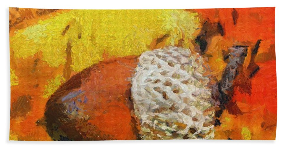 Fall Hand Towel featuring the painting Beechnuts by Dragica Micki Fortuna