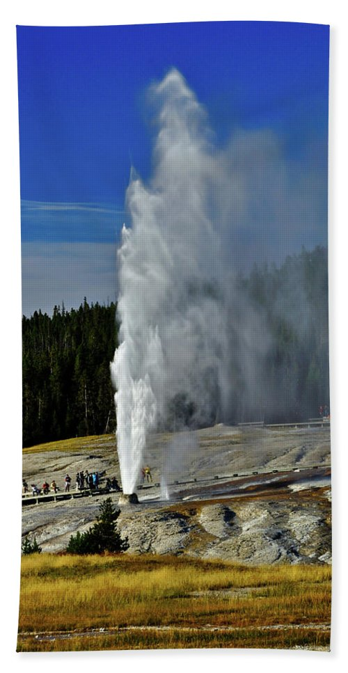 Beehive Geyser Hand Towel featuring the photograph Beehive Geyser by Greg Norrell