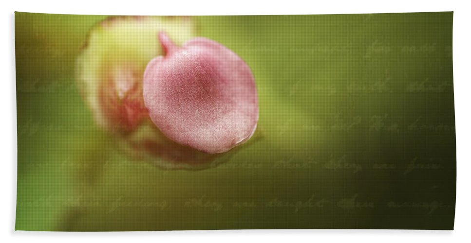 Flower Bath Sheet featuring the photograph Begonia Bud by Fran Gallogly