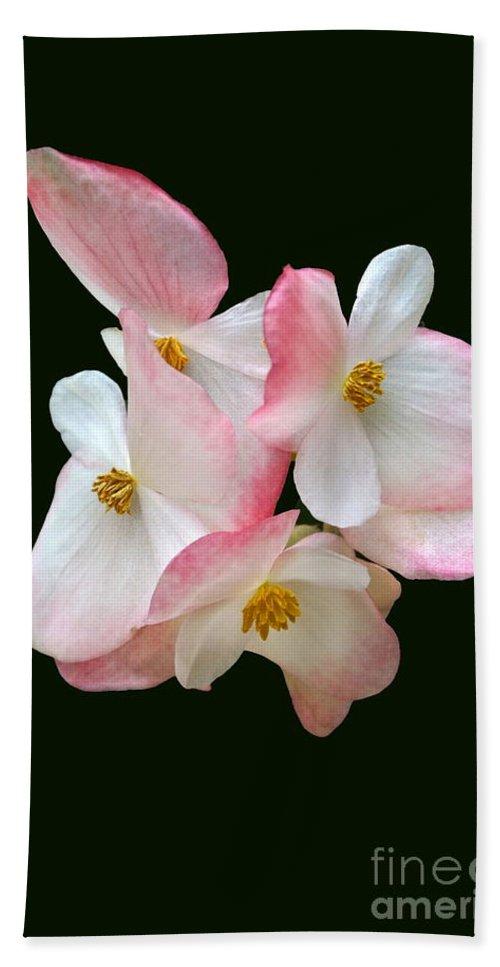Begonia Richmondensis Hand Towel featuring the photograph Begonia Flower Gems by Byron Varvarigos