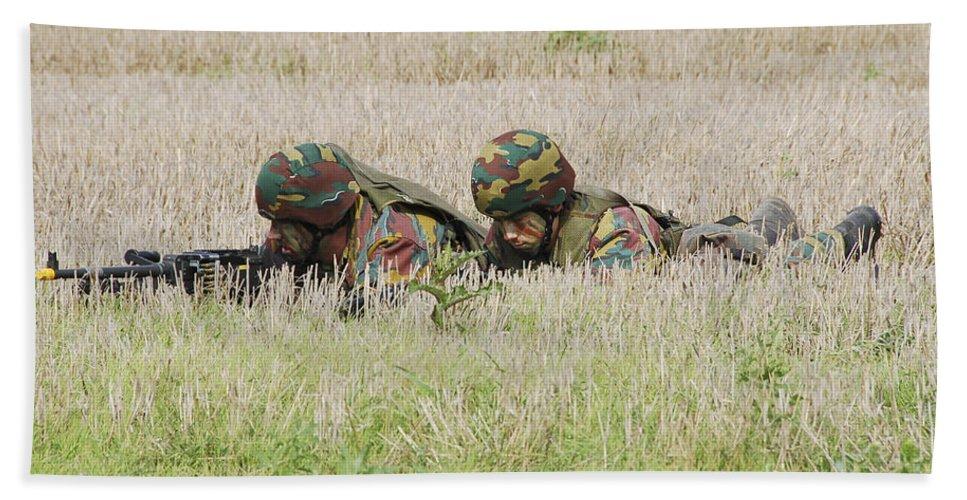 Ambush Bath Sheet featuring the photograph Belgian Paratroopers On Guard by Luc De Jaeger