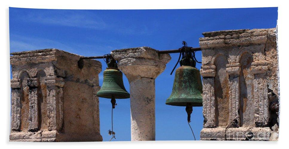Church Bells Bath Sheet featuring the photograph Bells Of Santorini Greece by Bob Christopher