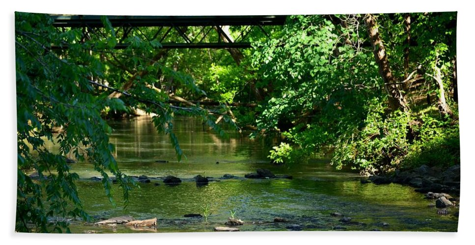 Bridge Bath Sheet featuring the photograph Below The Bridge Is Another World by Maria Urso