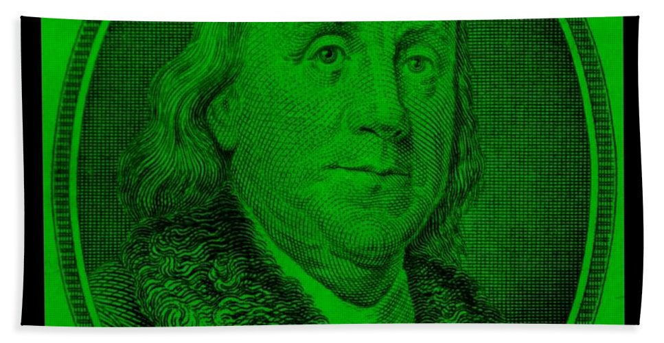 Ben Franklin Hand Towel featuring the photograph Ben Franklin In Green by Rob Hans