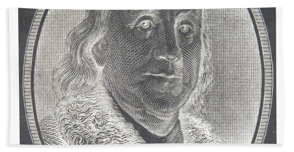 Ben Franklin Bath Towel featuring the photograph Ben Franklin In Negative by Rob Hans