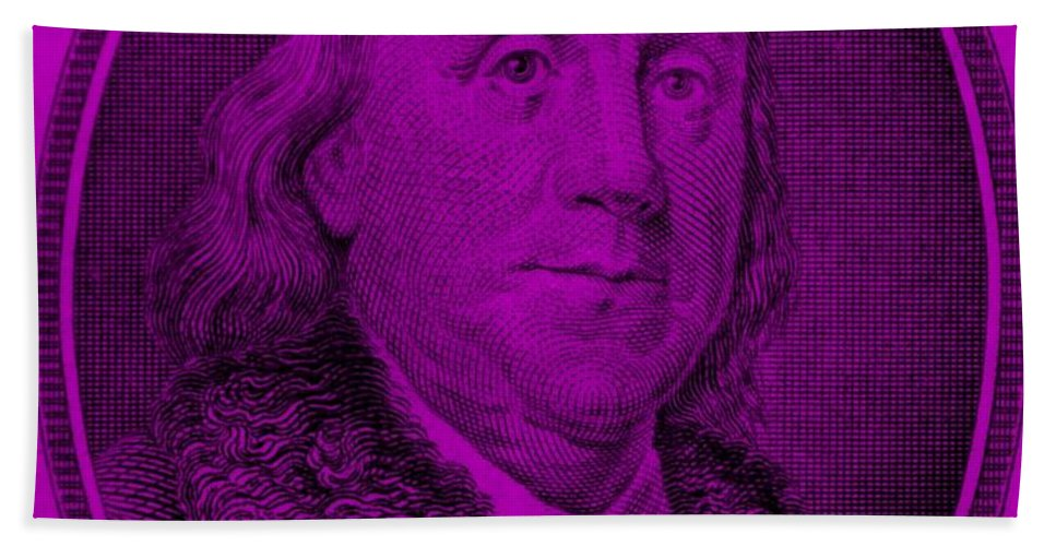 Ben Franklin Hand Towel featuring the photograph Ben Franklin In Purple by Rob Hans