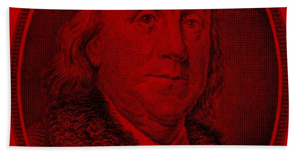 Ben Franklin Hand Towel featuring the photograph Ben Franklin In Red by Rob Hans